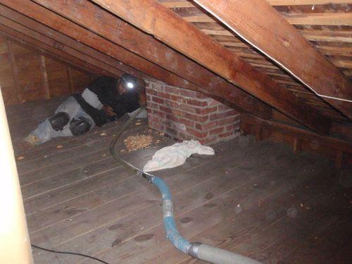 Blowing insulation under floor