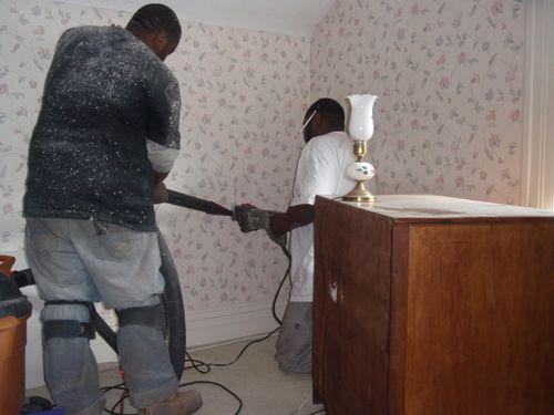 Preparing to cut through wall